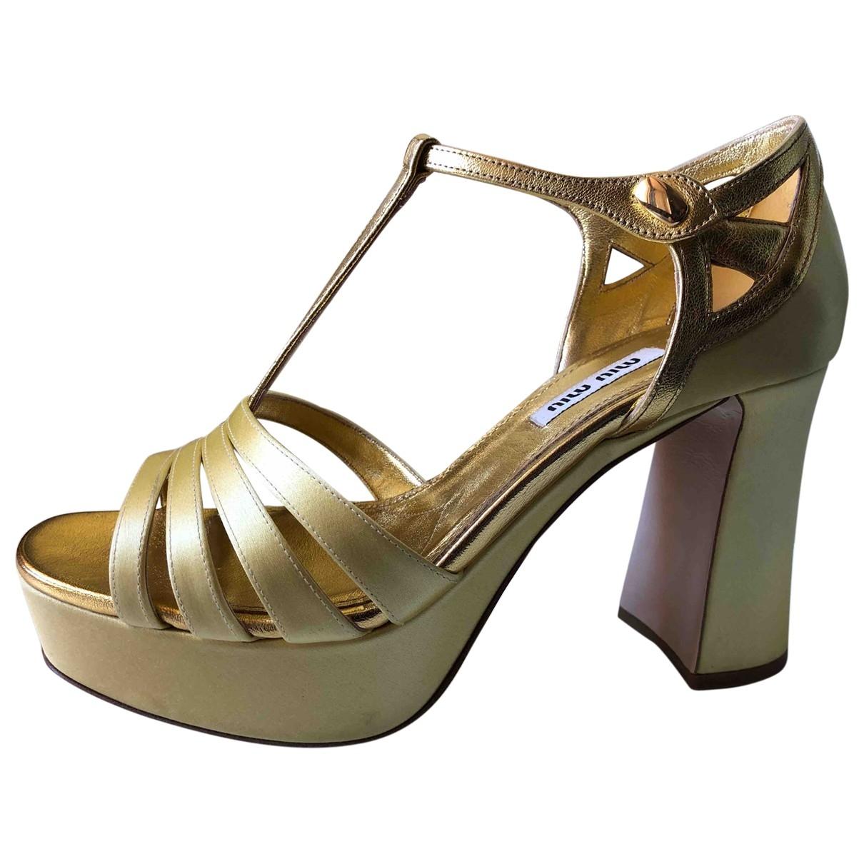 Miu Miu - Sandales   pour femme en cuir - jaune