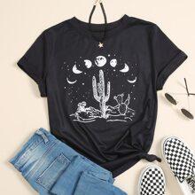 T-Shirt mit Kaktus und Galaxie Muster