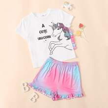 Girls Slogan and Unicorn Print Tee and Tie Dye Shorts PJ Set