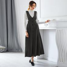 Solid Button Front Overall Dress
