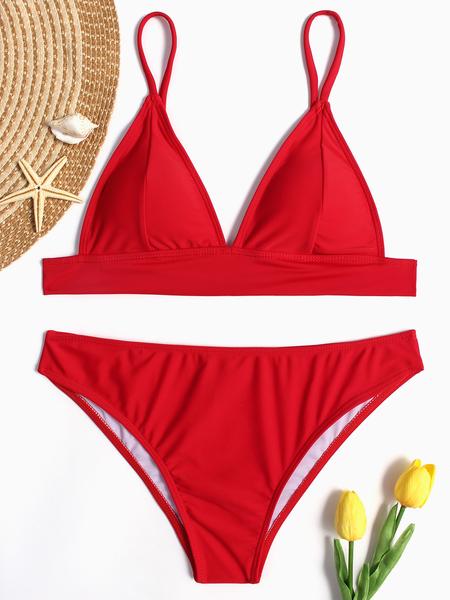 Yoins Red Sexy Simply Minimal Bikini Set