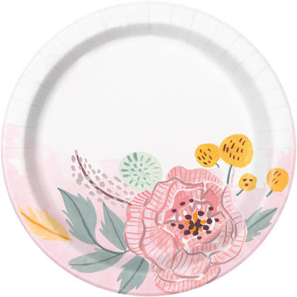 Painted Floral Round 7 Dessert Plates, 8ct