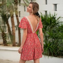 Guipure Lace Trim Ditsy Floral Backless Dress