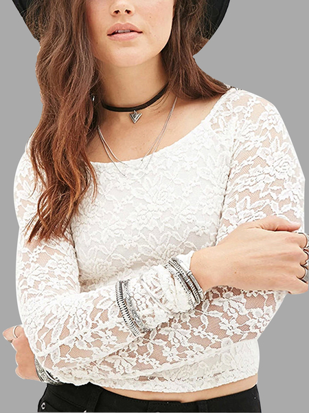 Yoins Crochet Floral Lace Crop Top in White