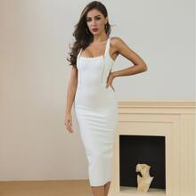 Lucra Figurbetontes Kleid mit Spitzenbesatz, Reissverschluss und Ausschnitt hinten