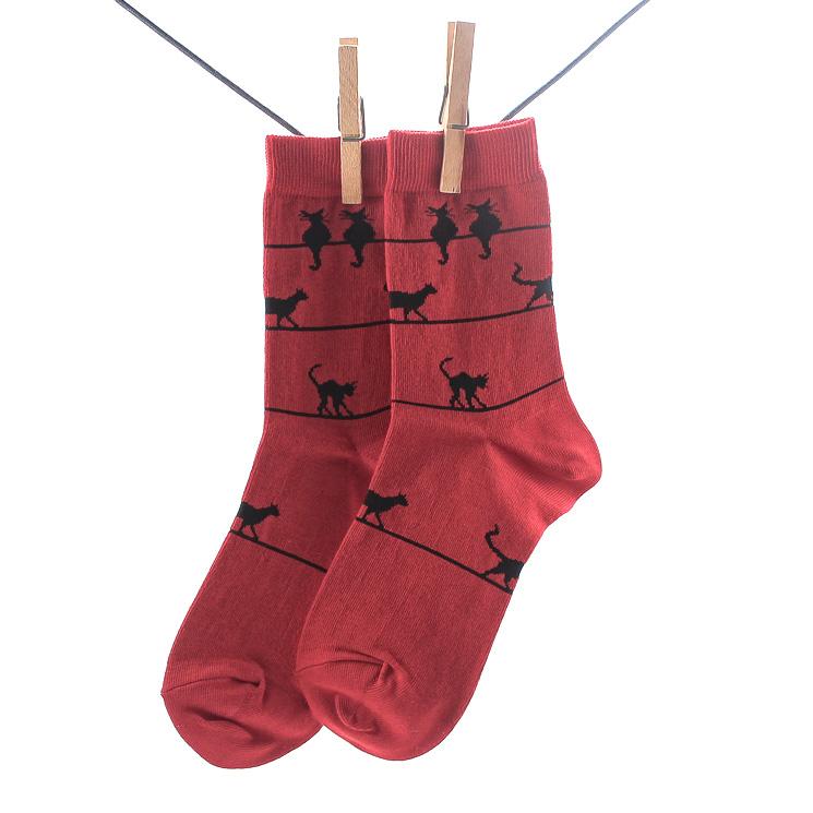 Cronert, 16432 Miau Damen Socken, dunkelrot Grosse 35-38