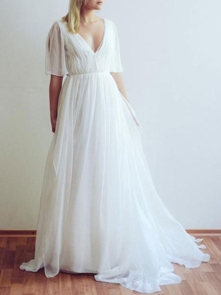 Milanoo Simple Wedding Dress V Neck Half Sleeves Pleated A Line Floor Length Bridal Dresses