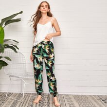 Cami Top With Tropical Print Pants Pajama Set