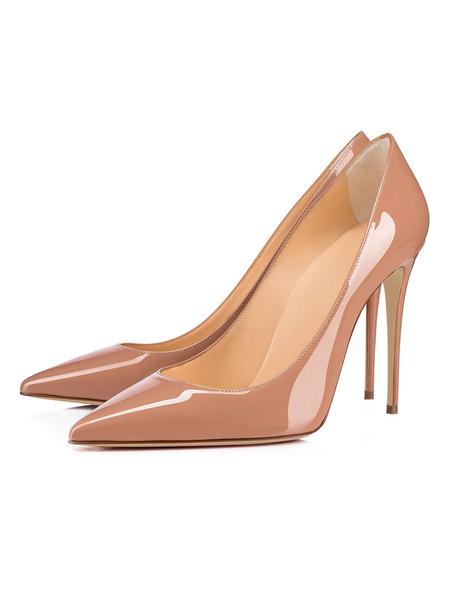 Milanoo Negro Tacones altos Mujer Punta puntiaguda Slip-On Tacon de aguja Bombas Zapatos de vestir