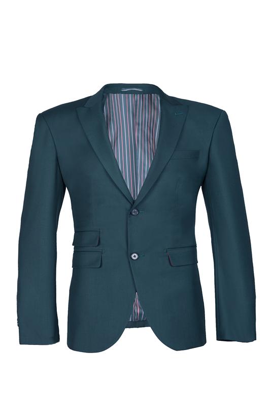 Elegante diseño verde oscuro Volver Vent Peak Lapel Slim Fit traje de boda