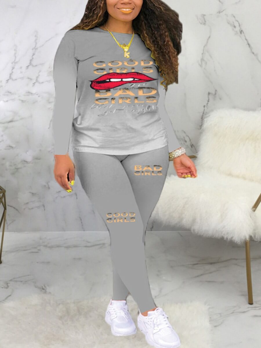 LW Lovely Casual Gradient Lip Print Grey Two Piece Pants Set