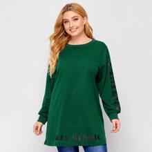 Langes Sweatshirt mit Buchstaben Grafik