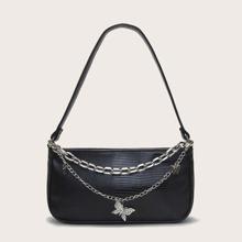 Butterfly & Chain Decor Baguette Bag