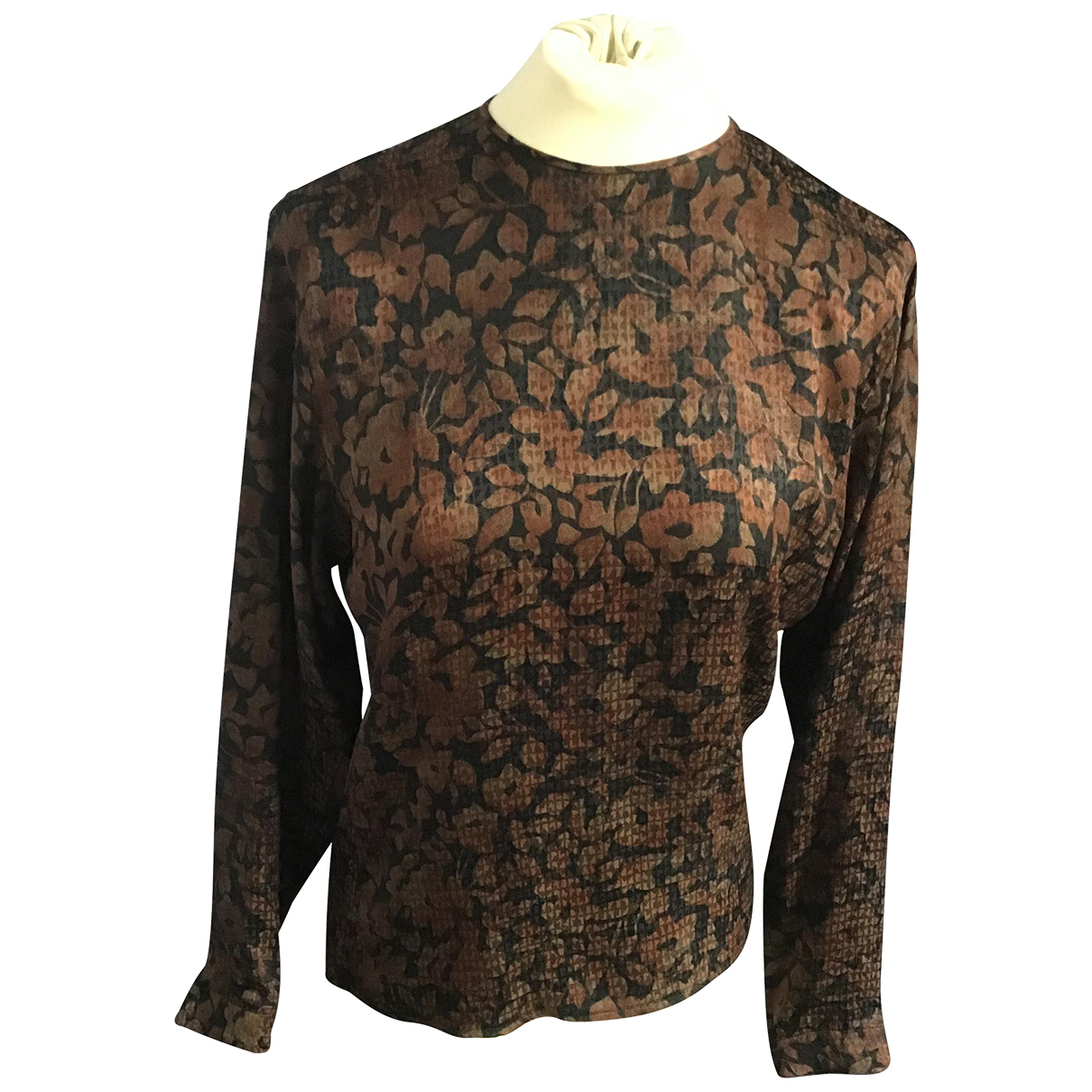 Non Signé / Unsigned N Brown Silk  top for Women 4 US