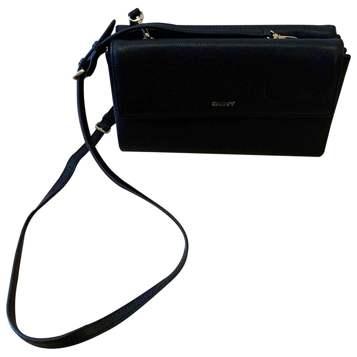 Dkny - Pochette   pour femme en cuir - noir