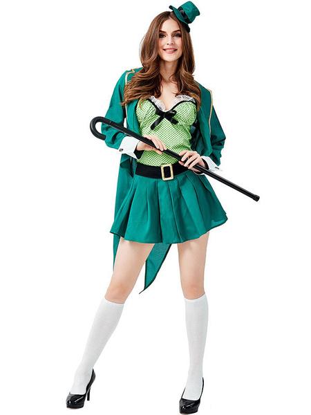 Milanoo Irish Holiday Costume St.Patrick\'s Day Women Green Texudo Vest Hat Saint Patrick's Day Costumes