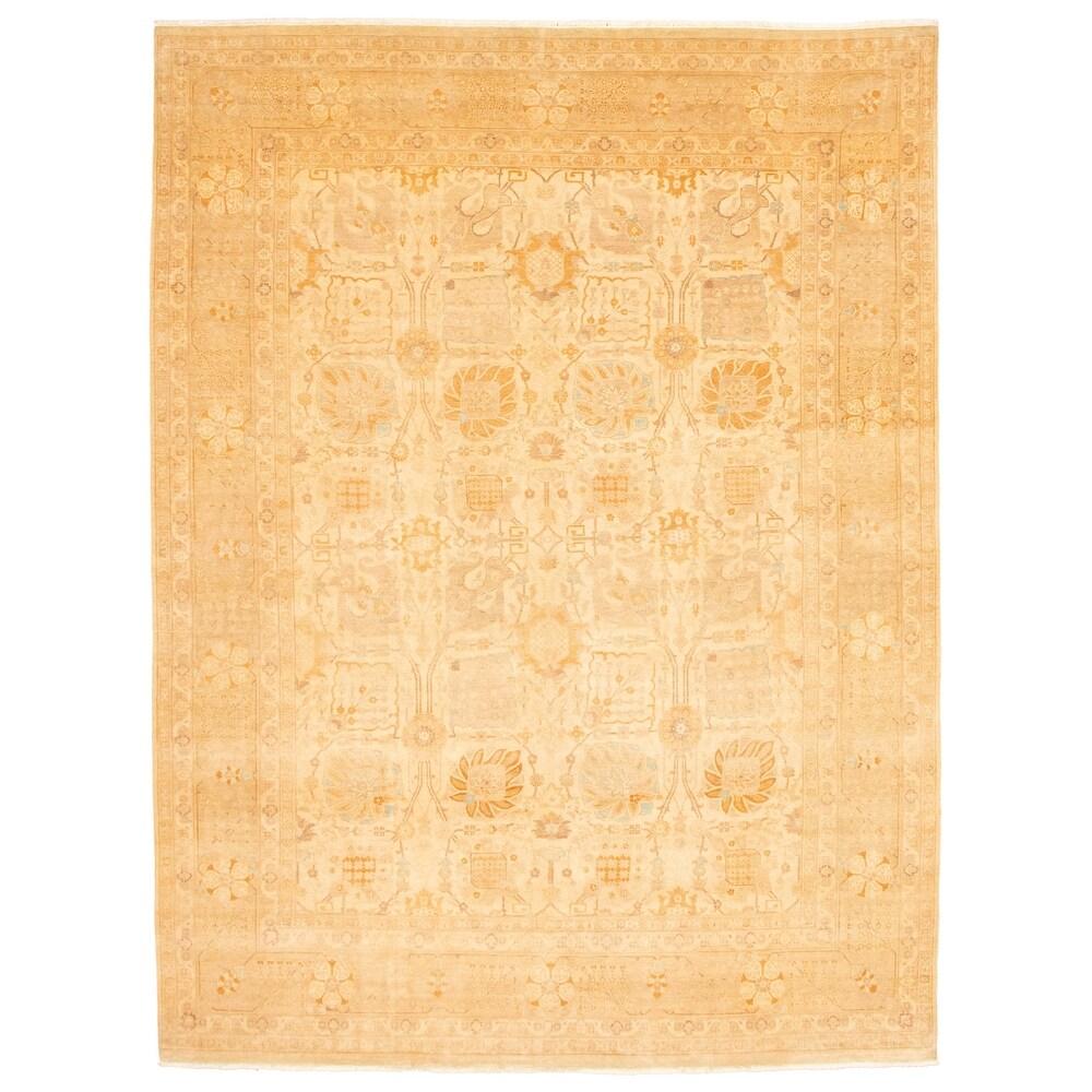 ECARPETGALLERY  Hand-knotted Peshawar Finest Ottoman Ivory Wool Rug - 810 x 117 (810 x 117 - Ivory)