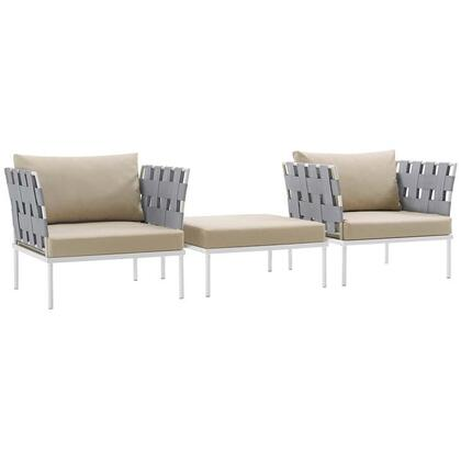 Harmony Collection EEI-2618-WHI-BEI-SET 3-Piece Outdoor Patio Aluminum Sectional Sofa Set with Ottoman and 2 Armchairs in