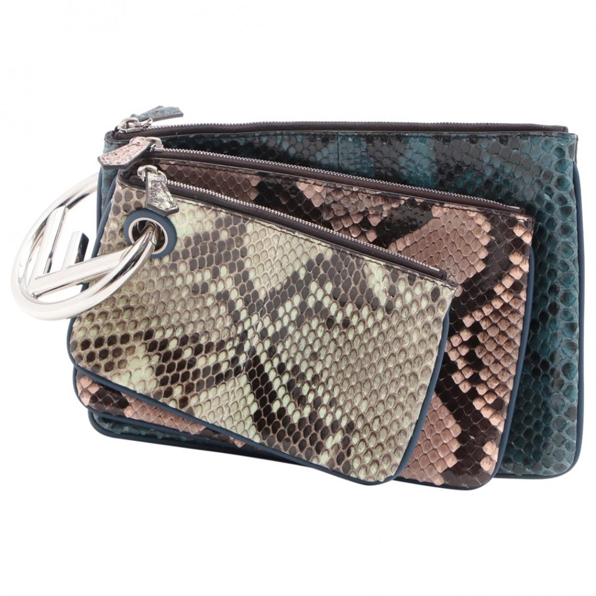 Fendi Triplette Multicolour Leather Clutch bag for Women N