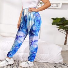 Plus Tie Dye Drawstring Waist Sweatpants