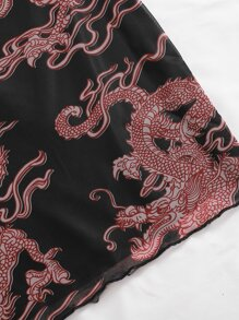 Chinese Dragon Print Skirt