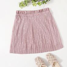 Plus Paperbag Waist Gold Print Pleated Skirt