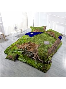 Leopard in Green Jungle Wear-resistant Breathable High Quality 60s Cotton 4-Piece 3D Bedding Sets