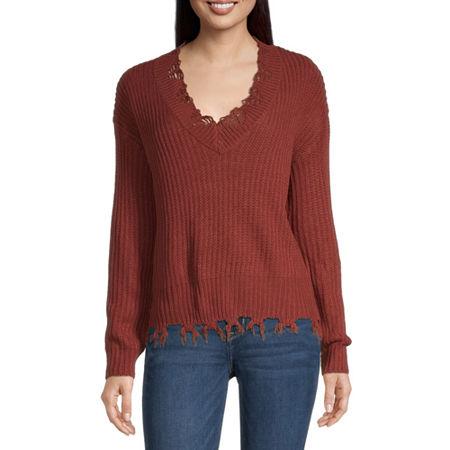 Belle Du Jour-Juniors Womens V Neck Long Sleeve Pullover Sweater, X-small , Black