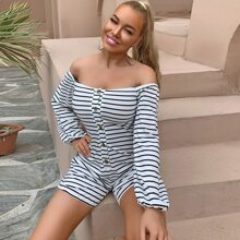 Button Front Striped Bardot Romper