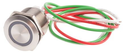 RS PRO Push Button Touch Switch, Latching, NO ,Illuminated, Green, IP68 Brass, 5 → 30V dc