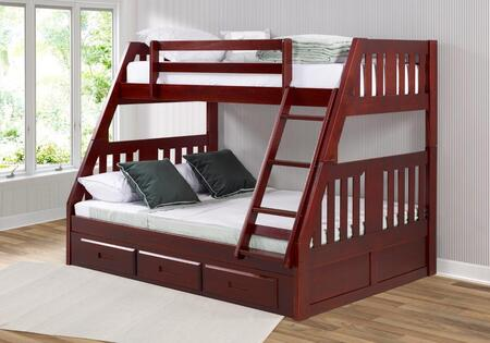 1218-TFM_2892-M Twin/Full Mission Bunkbed With 3 Drawer Bunk Pedestal in Merlot