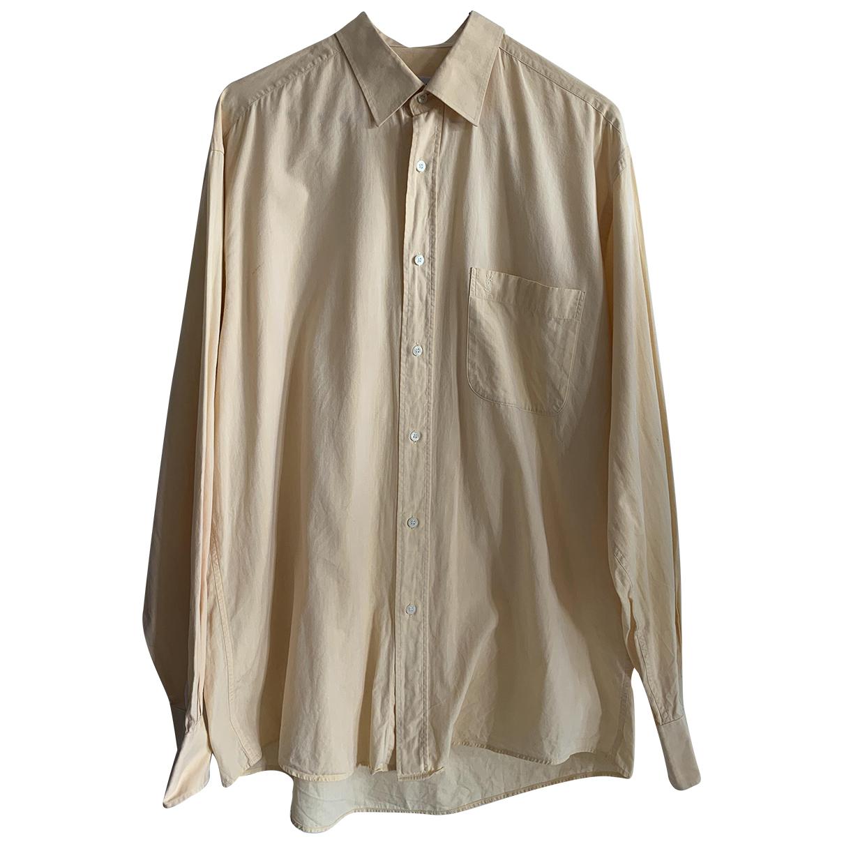 Yves Saint Laurent \N Yellow Cotton Shirts for Men 40 EU (tour de cou / collar)