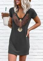 Vintage Eagle V-Neck Mini Dress - Dark Grey