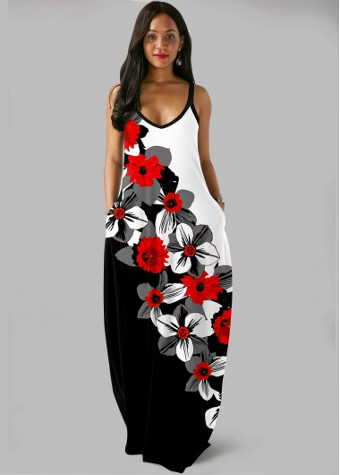 Rosewe Women Black And White Floral Printed Sleeveless Bohemian Maxi Casual Dress With Side Pockets Color Block Strappy Straight Tunic Dress - M