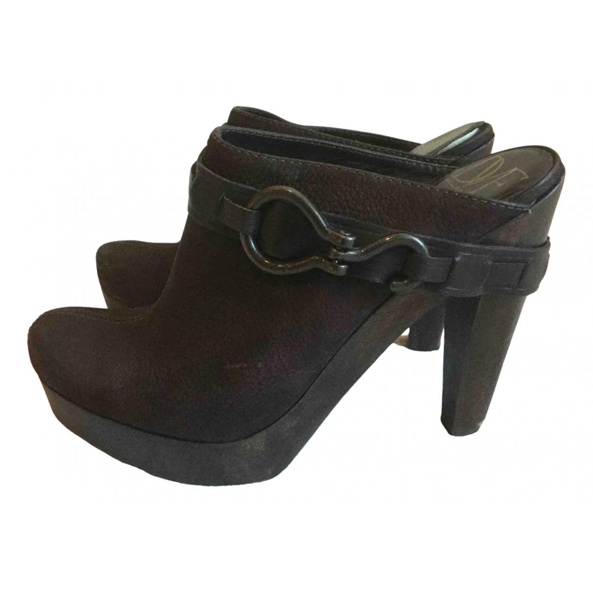 Diane Von Furstenberg N Brown Suede Mules & Clogs for Women 8.5 US