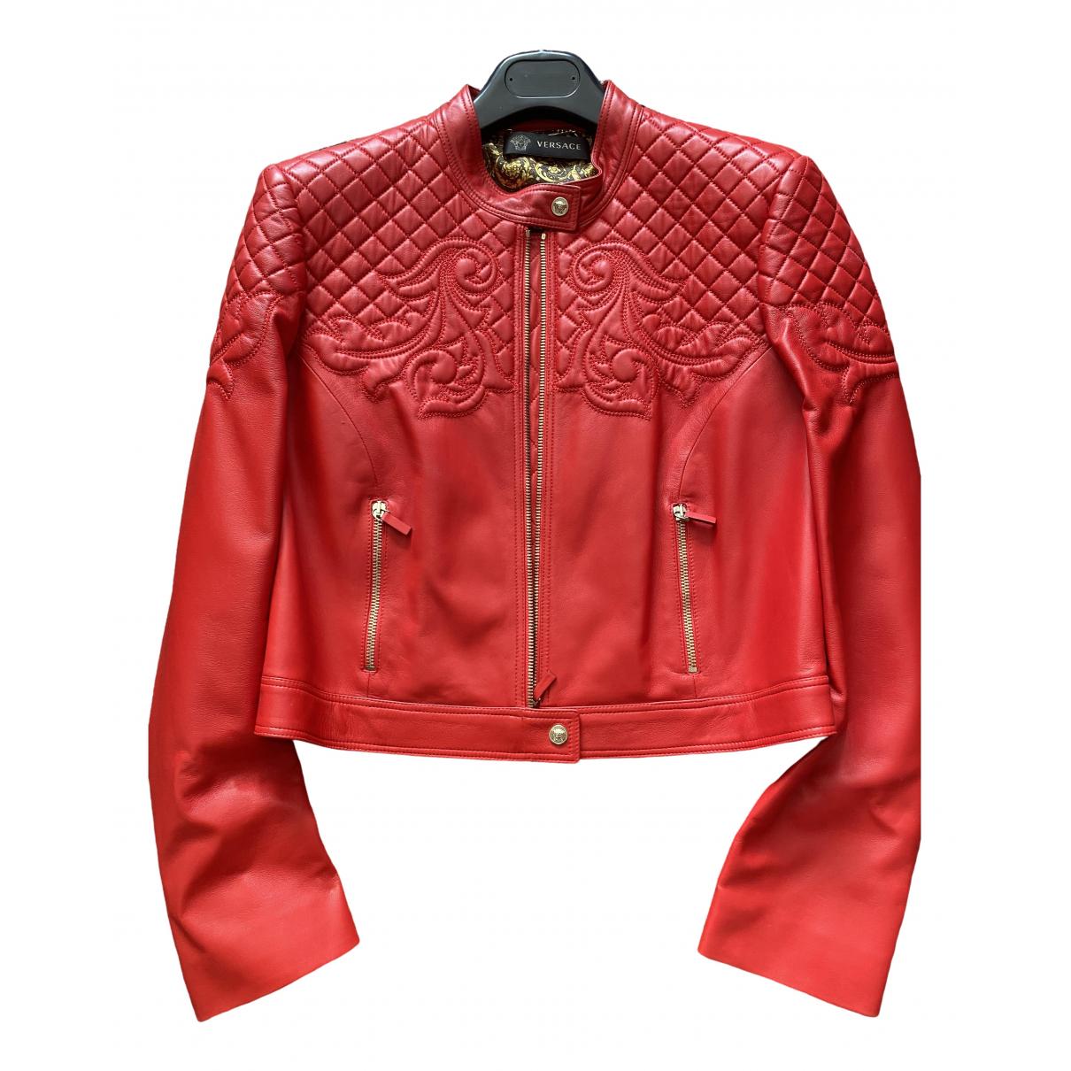 Versace - Veste   pour femme en cuir - rouge