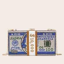 Tasche mit Strass und Geld Design
