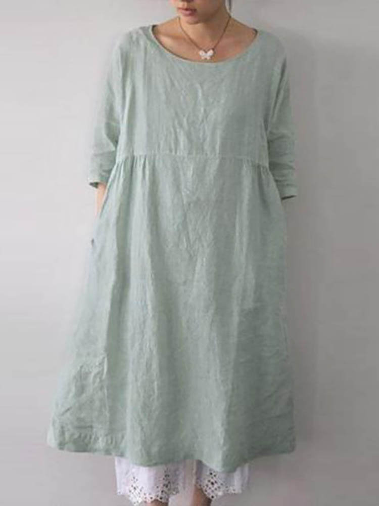 Solid Color 3/4 Sleeve Loose Cotton Plus Size Dress with Pockets