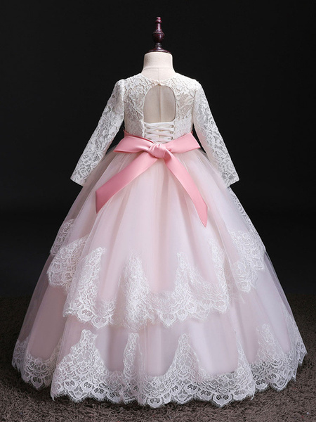 Milanoo Flower Girl Dresses Jewel Neck Tulle Long Sleeves Floor Length Princess Silhouette Bows Formal Kids Pageant Dresses