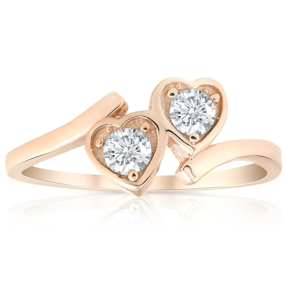 1/3ct Diamond Solitaire Two Stone Forever Us Heart Shape 14k Rose Gold Ring (7.5)