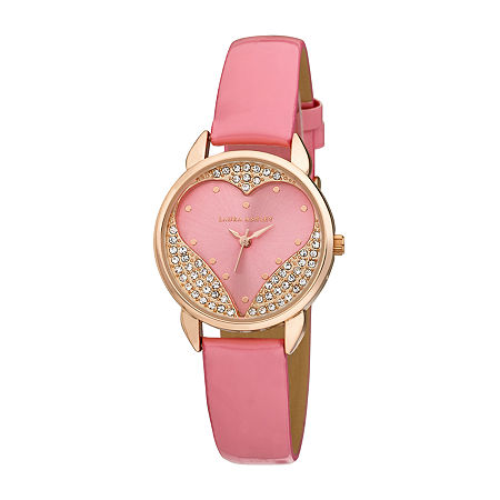 Laura Ashley Womens Crystal Accent Pink Strap Watch-La31082pk, One Size , No Color Family
