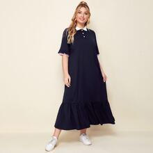 Plus Striped Cuff Ruffle Trim Contrast Collar Polo Dress