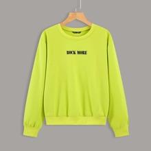 Plus Neon Lime Letter Graphic Sweatshirt