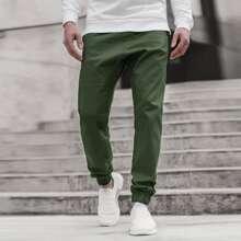 Men Solid Button Front Pants
