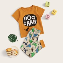 Kleinkind Jungen Schlafanzug Set mit Dinosaurier & Buchstaben Muster