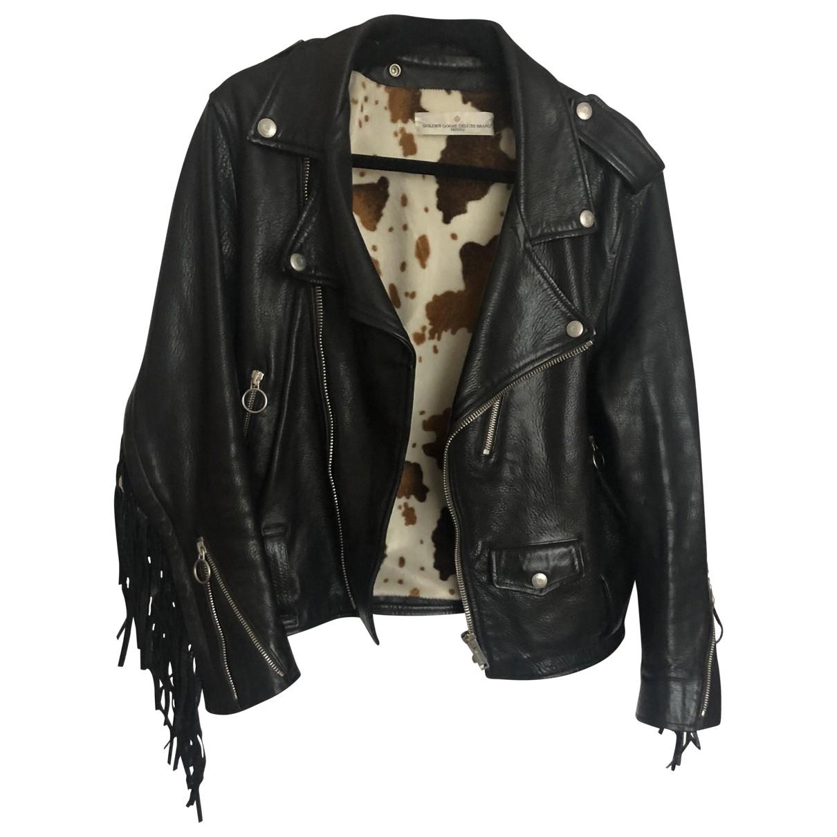 Golden Goose - Veste   pour femme en cuir - noir