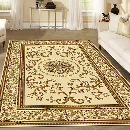 Noble Medallion Traditional Oriental Area Rug, One Size , White