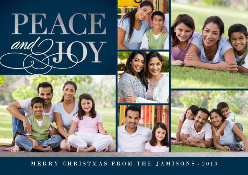 Christmas Photo Cards 5x7 Cards, Premium Cardstock 120lb, Card & Stationery -Elegant Peace & Joy