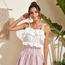 Layered Ruffle Trim Knotted Cami Top