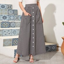 Button Front Gingham Print Skirt